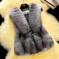 Leather vest fox fur coat women real fox fur vest silver fox waistcoats genuine fur winter fashion fur free shipping New Phoenix