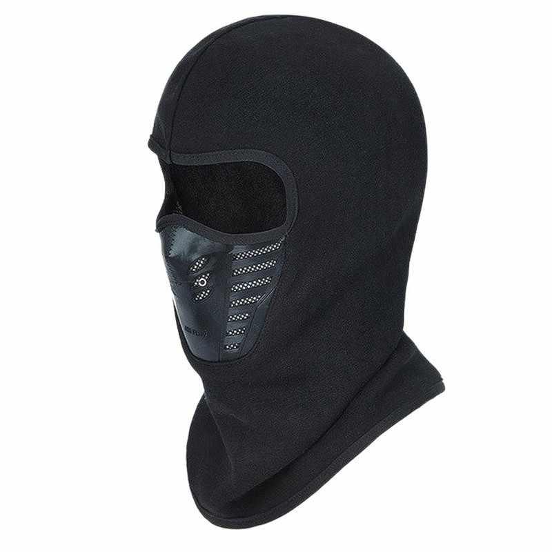 Máscara facial ao ar livre inverno quente bicicleta escalada esqui à prova de vento filtro carbono lã térmica balaclava cabeça protetor