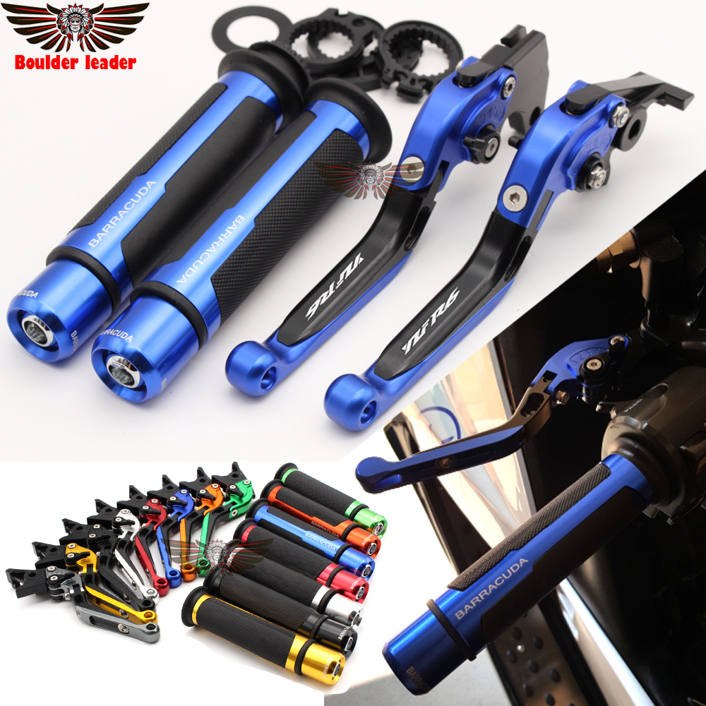 Motorcycle Adjustable Folding Brake Clutch Levers Handlebar Hand Grips For Yamaha YZF R6 YZFR6 1999 2000 2001 2002 2003 2004 adjustable cnc billet alu long folding adjustable brake clutch levers for yamaha fz6 fazer 1997 2003 1998 1999 2000 2001 2002