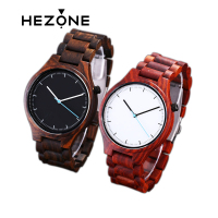 HEZONG 2017 Red Sandalwood Unique Analog Watch Men Top Brand Luxury Fashion Wooden Watch Women Ladies