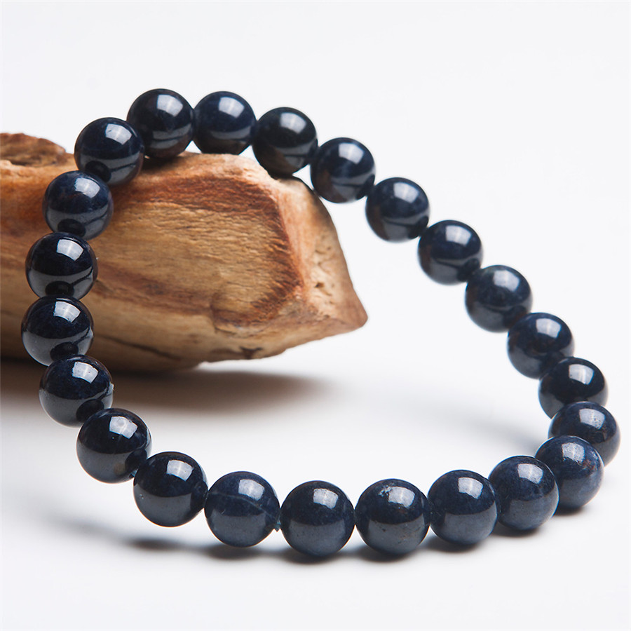 8 5mm Genuine Blue Natural Sapphire Bracelets For Women Crystal Blue Stretch Fashion Round Bead Bracelet
