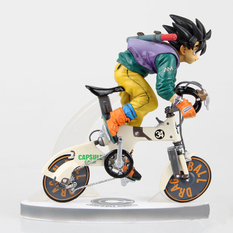 ZXZ 23cm Japanese Anime Dragon Ball Z Son Goku Rinding Bicycle Bike Action Figure PVC Collection Figures Toys Gift 25cm bikini warriors valkyrie japanese anime action figure pvc collection figures toys collection