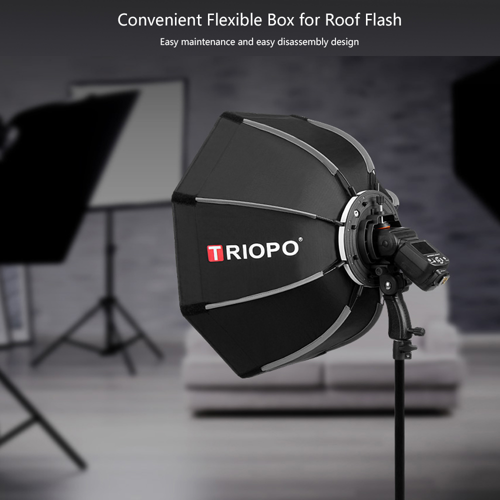 TRIOPO 65cm Foldable Softbox Octagon Soft Box For Godox Yongnuo Speedlite Flash Light Photography Studio Accessories With Handle