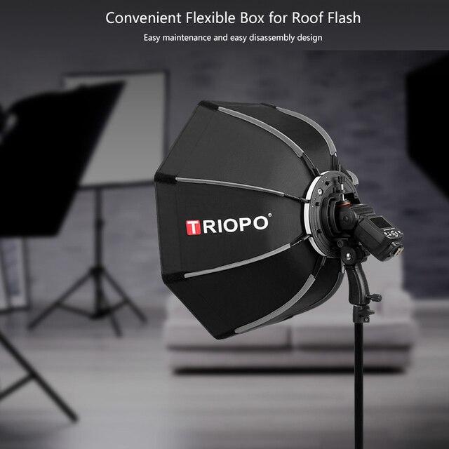 Triopo 65 cm Bát Giác Dù Softbox Cho Canon Nikon Sony Pentax Godox V860II TT685 JY-680A Đèn Flash Speedlite Máy Khuếch Tán Tinh Dầu