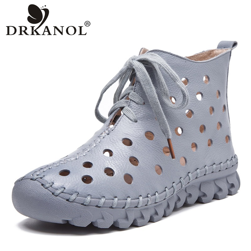 DRKANOL New Design Summer Women Boots Soft Genuine Leather Ankle Boots For Women Casual Shoes Breathable Hollow Cool Boots Woman
