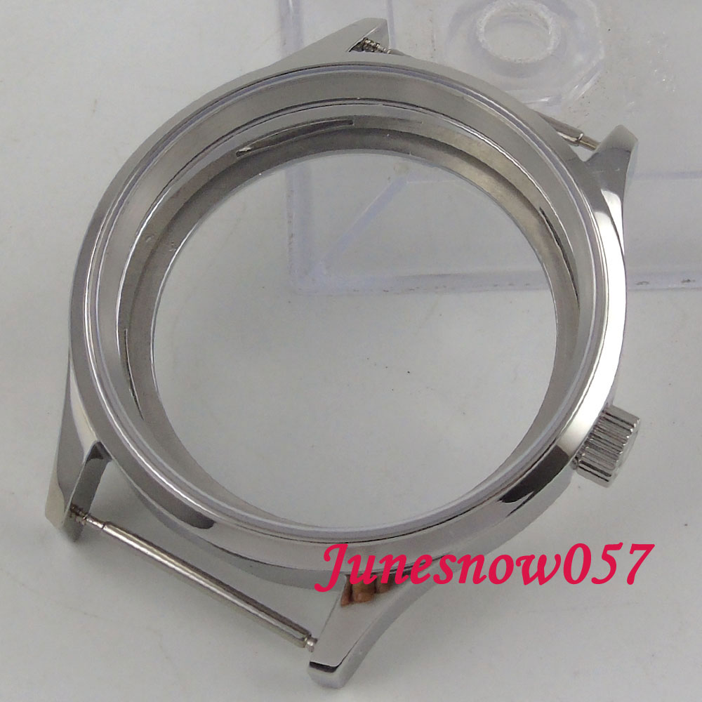 43mm watch case sapphire glass 316L stainless steel Fit ETA 6497 6498 hand winding movement C145 46mm matte silver gray stainless steel watch case fit 6498 6497 movement watch part case with mineral crystal glass