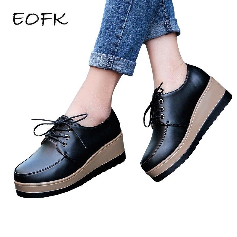 где купить EOFK New Autumn Women Flat Platform Shoes Women's Flats Genuine leather Shoes Woman Lady Solid Black Lace up Female Flat Shoes по лучшей цене
