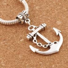 homod new fashion anchor beads leather bracelets Imports Nautical Anchor Paracord 24x38mm 60pcs Antique Silver Big Hole Beads Fit European Charm Bracelets B003