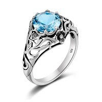 European And American Wind Elegant Women Fashion 925 Sterling Silver Hollow Out Silver Sapphire Ring Carved