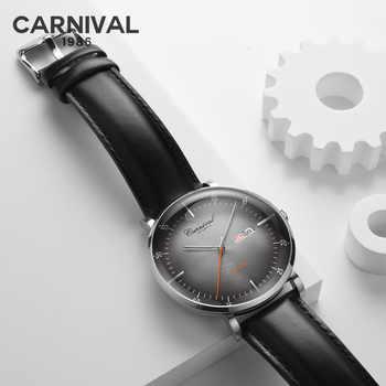 Skeleton Uhr KARNEVAL High-End-Automatische Uhr Männer MIYOTA Bewegung Kalender Woche Leder band Saphir Mechanische Uhren 2019