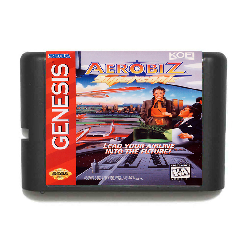 Aerobiz Supersonic 16 bit MD Game Card For Sega Mega Drive For Genesis