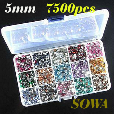 Free Shipping A 15 Grid Drilling Box + SS20 Size 5mm 7500pcs Multicolor Resin beads Flatback 15 Colors Randomly