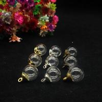 100set/lot 10mm glass globe with 6mm cap diy jewelry accessory findings diy Glass vial pendant glass bottle bubble cover dome