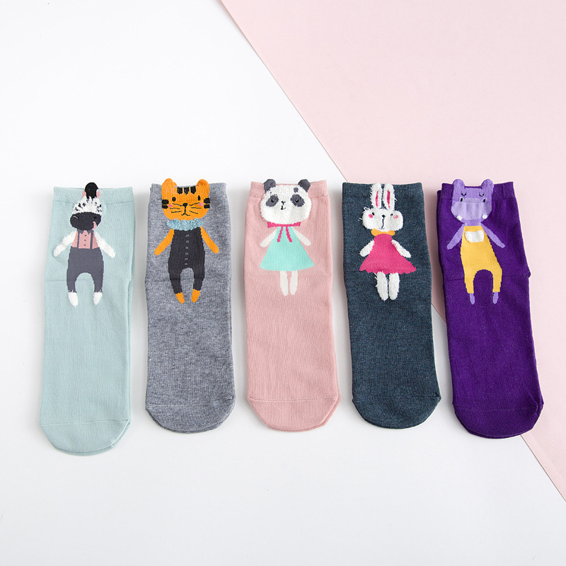 Rabbit 3D Lovely Cartoon Animals Fashion Zebra Tiger Panda Women Cotton Funny   Socks   Female Hosiery Autumn New Hip Hop Kawaii
