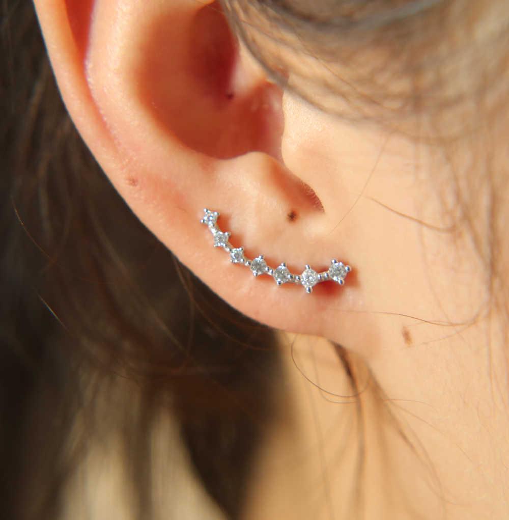 Koreański biżuteria cyrkon kryształ 925 srebro geometryczne kolczyki dla kobiet oświadczenie ucha biżuteria hurtowych najwyższej jakości