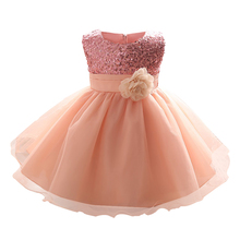 Pink Baby Dress for Girl 1 2 Years Birthday Party Dress Infant Toddler Newborn Kid Clothes Tutu Sequins Summer Dresses for Girls