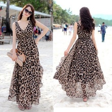 Summer Dress Casual Women Dress Maxi Chiffon Long Beach Dresses Plus Size XL Lepoard Sleeveless Ruffle Women Dress Vestidos