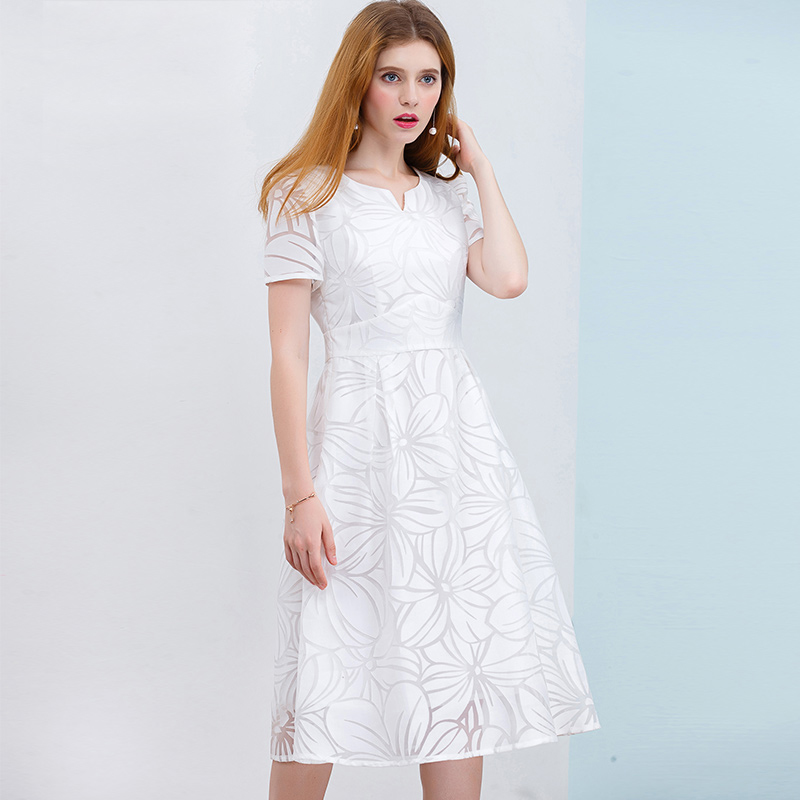 knee length casual white dress with sleeves