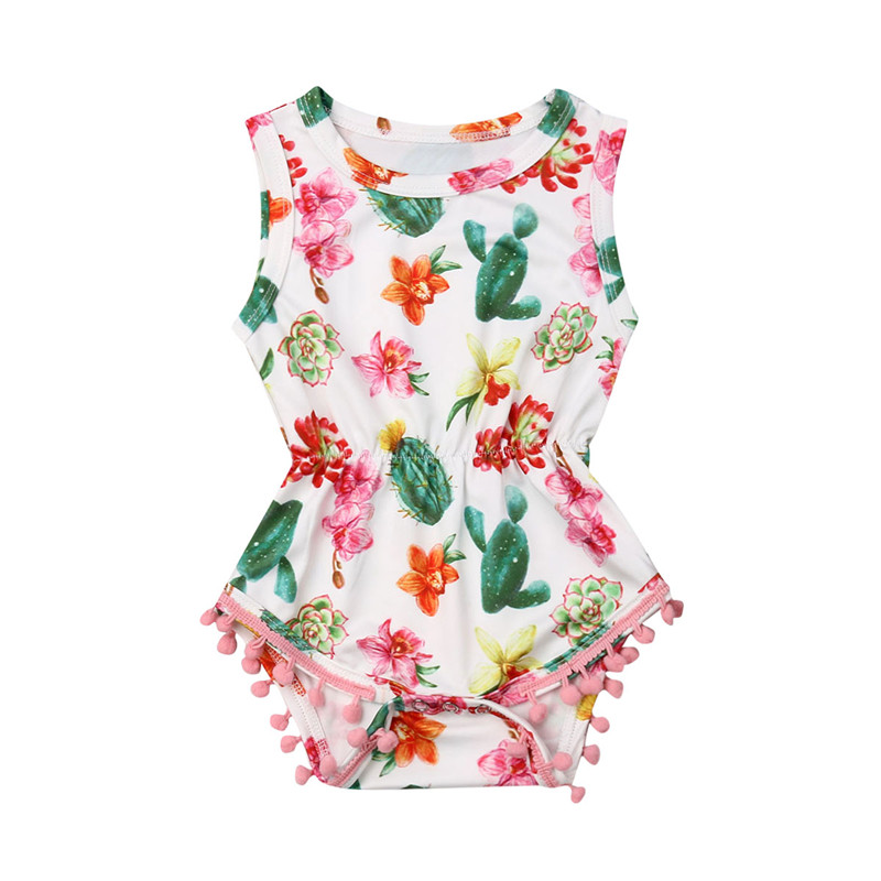 Newest Summer Baby Girl Tassel   Romper   2019 Summer Sleeveless Cactus Printed Short   Romper   Jumpsuit Outfits Princess Clothes 0-24M