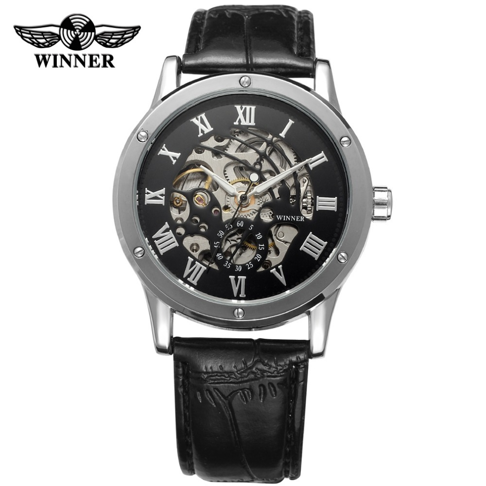Winner Men's Watch Classic Automatic Skeleton Dial Roman Numbers High-end Brand Dress Wristwatch Color BlackWRG8098M3S2 numbers 1 2 3