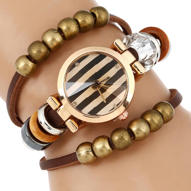 Top reloj de cuero mujer pulsera triple cuentas reloj de pulsera - Relojes para mujeres