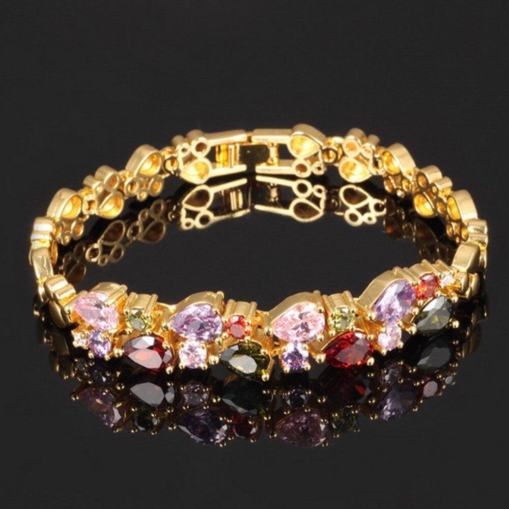 Cuff Bracelet Bangle Pulseiras De Cristal de Prata de Ouro Multicolor Zircon Pulseiras Pulseiras Charme Pulseiras para Mulheres Pulseiras Jóias