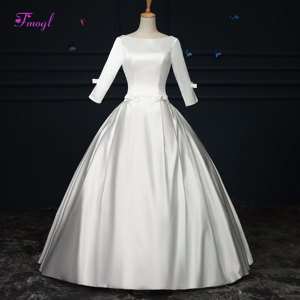 Elegant Silk Wedding Dresses With Sleeves: Fmogl Romantic Scoop Neck Lace Up Ball Gown Wedding