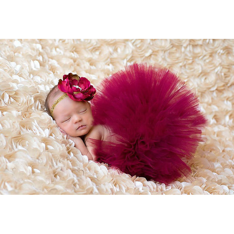 New baby girl tulle tutu with matching flower headband set newborn photography props little girl tutu skirt 6 colors gm001 in skirts from mother kids on