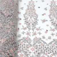New arrival beaded lace fabric African French net tulle Lace Fabric with stones for wedding party dress super quality IG548