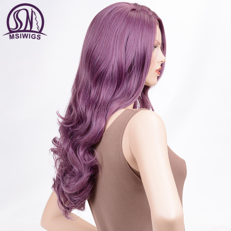 Image 2 - MSIWIGS Wavy Wigs Purple Hair Long Synthetic Wig for Women Side Parting Cosplay Hair Wig High Temperature FiberSynthetic None-Lace  Wigs   -