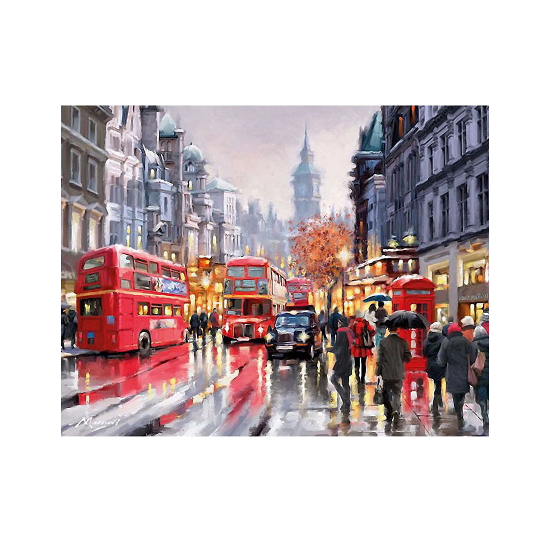 Sale DIY Oil Painting By Numbers Frameless Paint On Canvas Wall Pictures Living Room Wall Art Home Decor Rain Shopping Street