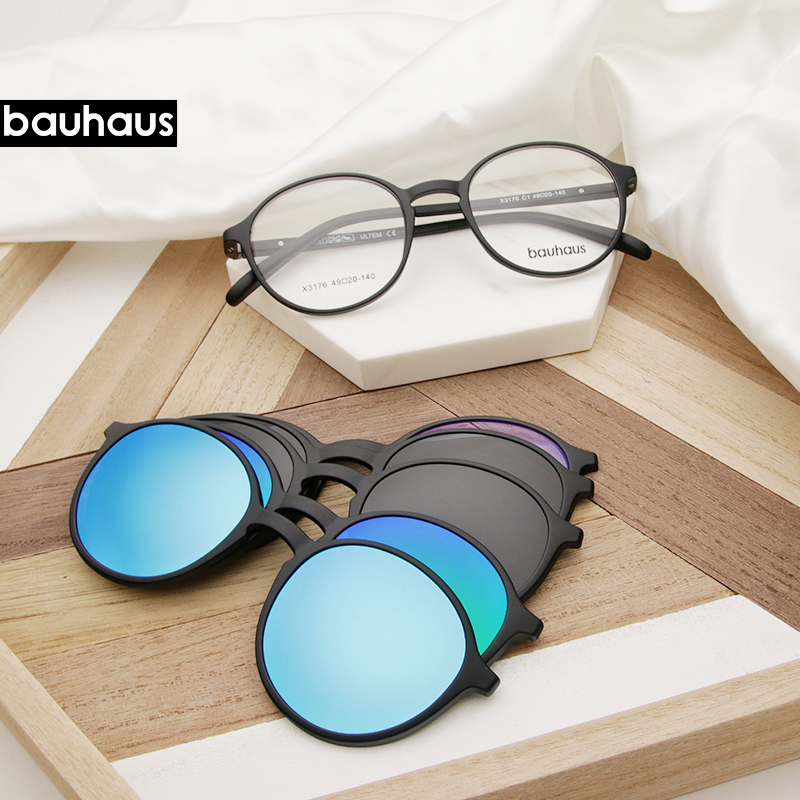 Bauhaus Brand Classic Clip On Sunglasses Men Women Magnet Eyewear Glasses Frames Ultem Optical Glasses Frame