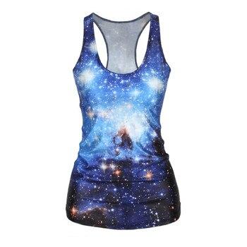 3D Print Tops Galaxy Printing Crop Blue Sky Shinny Star Hot Women's Skinny Sleeveless T-shirt 1