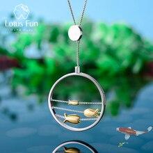 לוטוס כיף אמיתי 925 כסף סטרלינג בעבודת יד תכשיטים יצירתי חמוד נע שמח דגים תליון ללא שרשרת לנשים