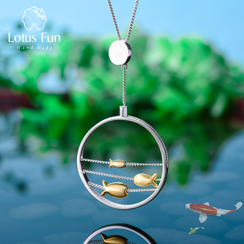 Lotus Fun Real 925 Sterling Silver Handmade Fine Jewelry Creative Cute Moving Happy Fishes Pendant Without Necklace For Women