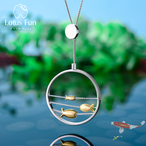 Image 1 - Lotus Fun pendentif en argent Sterling 925, bijou fin fait à la main, créatif, joyeux poisson, en mouvement, sans collier, pour femmes