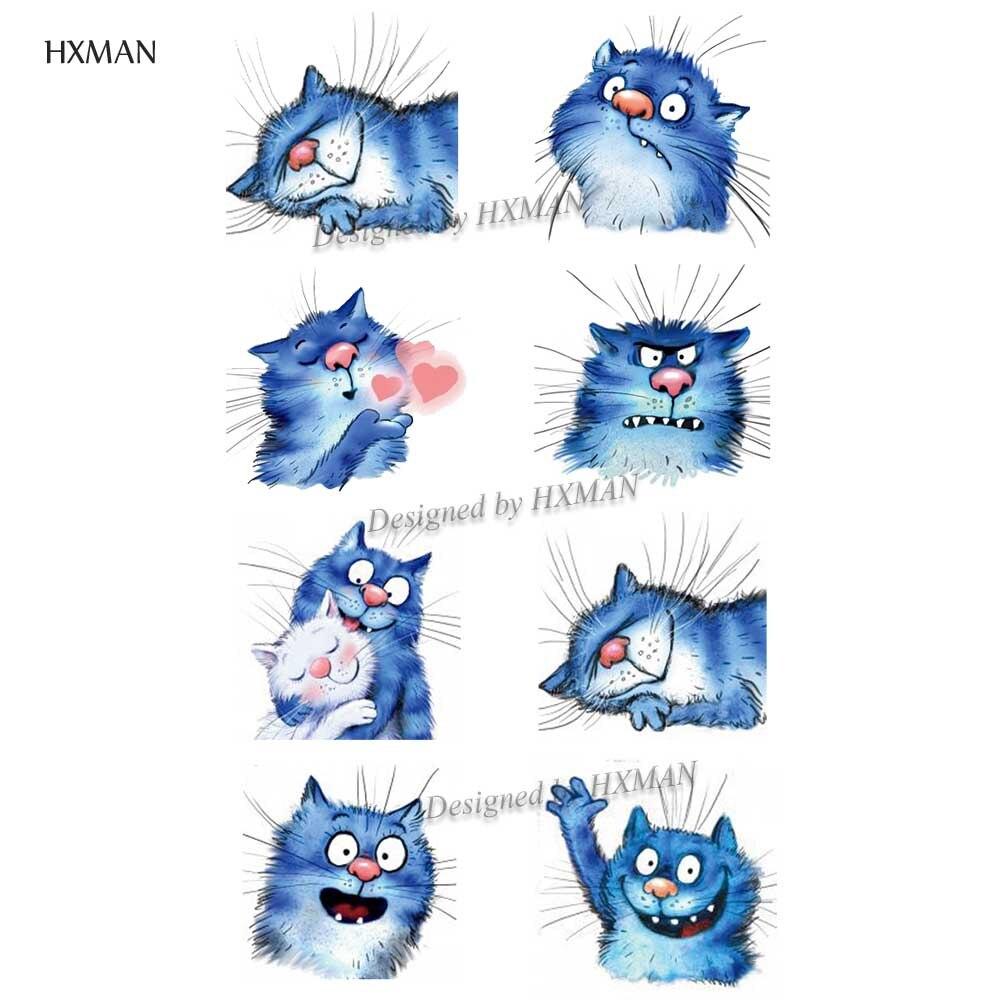 HXMAN Cat Women Temporary Tattoo Sticker Waterproof Fashion Fake Body Art Animal Tattoos 9.8X6cm Kids Hand Tatoo A-223