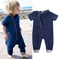2016 Newborn Baby Boy Girls Clothes Denim Romper Short Sleeve Zipper Jumpsuit Overall Outfits One pieces