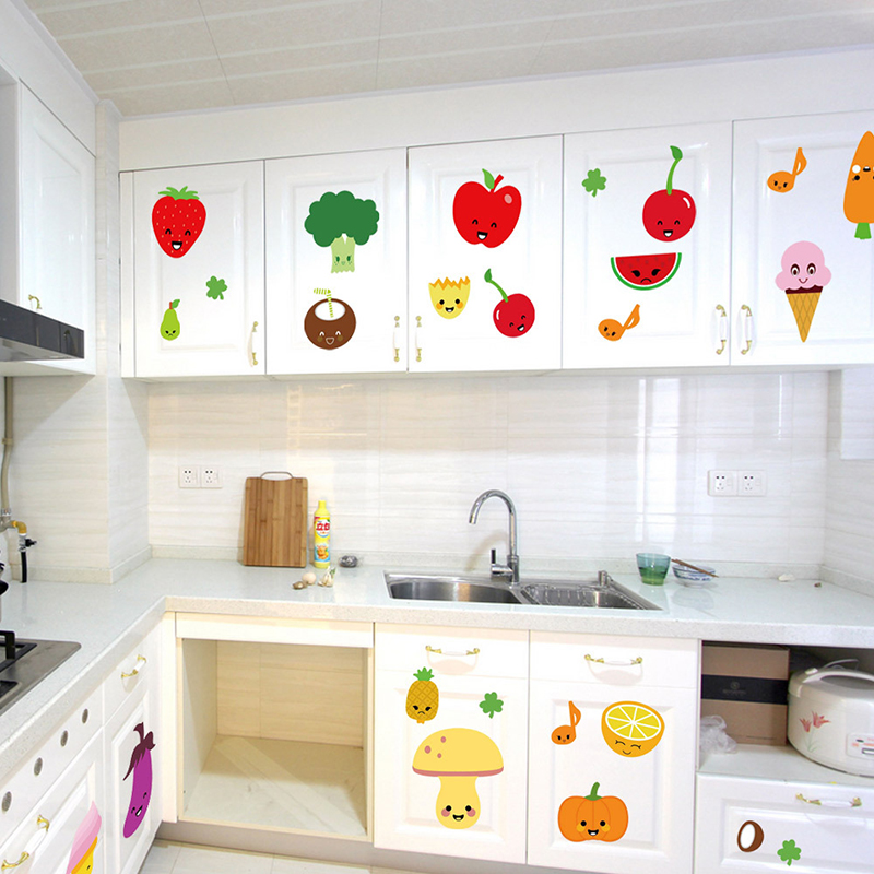 Kitchen Tiles Fruits Vegetables: Apple Strawberry Kitchen Sticker Fruit And Vegetable DIY