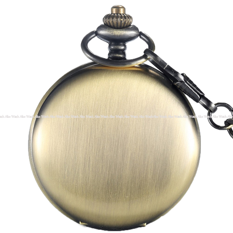 Gold/ Silver/Bronze/black/ Polish Smooth Quartz Pocket Watch Antique FOB Necklace Chain Pendant Vintage Fullmetal Mens Watches