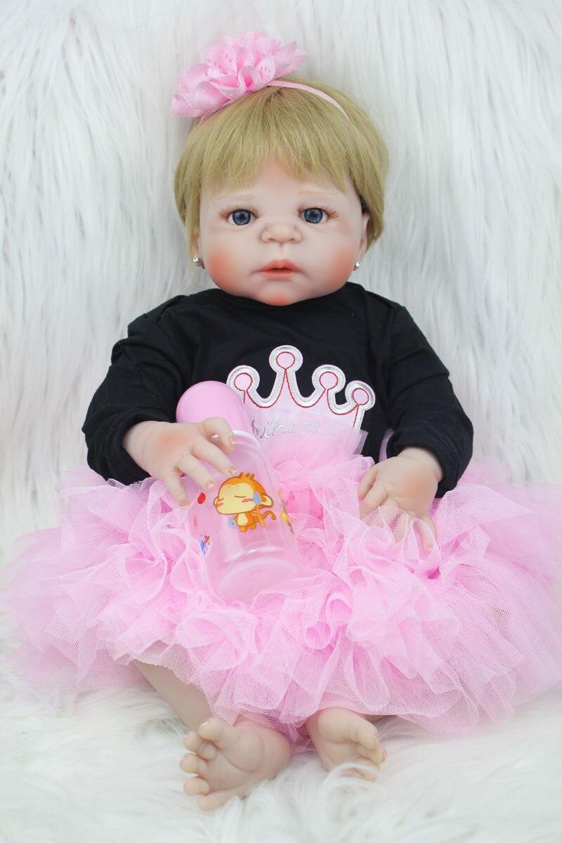 55 см всего тела силикона Reborn Baby Doll игрушка 22-дюймовый новорожденная девочка принцесса для малышей куклы для детей купаться игрушка рождеств...