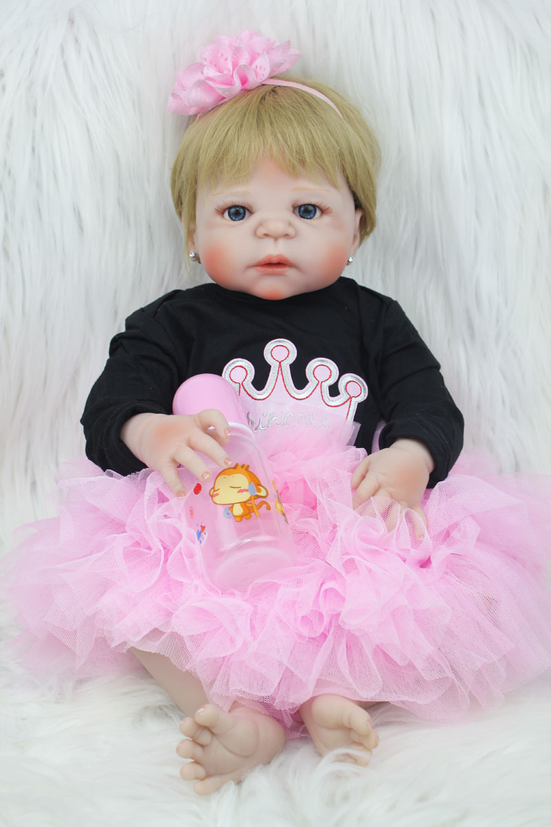 55cm Full Body Silicone Reborn Baby Doll Toy 22inch Newborn Girl Princess Toddler Babies Doll Child Bathe Toy Birthday Xmas Gift hot 57cm full body silicone reborn sweet girl baby doll toys newborn princess toddler babies doll birthday gift child bathe toy