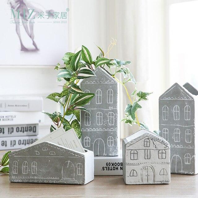 Miz 1 Piece Plant Pot Home Garden Accessories Cement Flower Pot House Shape  Container For Plants