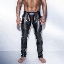 3158ae8a7f0c0d Moda Uomo Nero Faux pantaloni di Pelle Pantaloni Lunghi Sexy E novità  Skinny Collant Muscolari Uomo Leggings Slim Fit Stretto Uo.