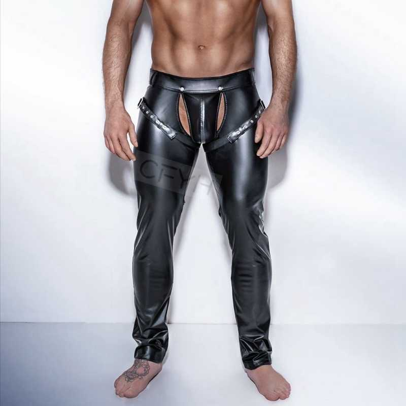 dd45dfe20a7 Fashion Mens Black Faux Leather Pants Long Trousers Sexy And Novelty Skinny  Muscle Tights Mens Leggings