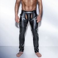 Fashion Mens Black Faux Leather Pants Long Trousers Sexy And Novelty Skinny Muscle Tights Mens Leggings Slim Fit Tight Men Pant