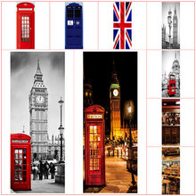 London stil tür aufkleber Big Ben red Bus 3d wand kunst vinyl wandbild dekoration city street view tapete 77*200cm 12 arten(China)