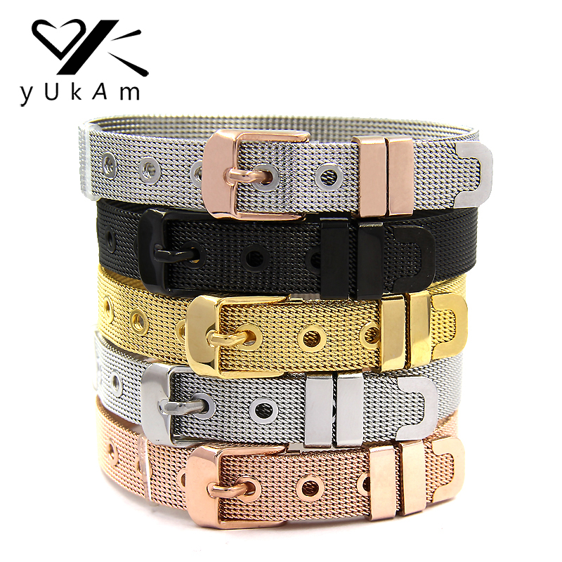 YUKAM Keeper Jewelry Women Statement Stainless Steel Mesh Keeper Bracelets for Slide Charms DIY Bracelets Silver Rose Gold Black keeper