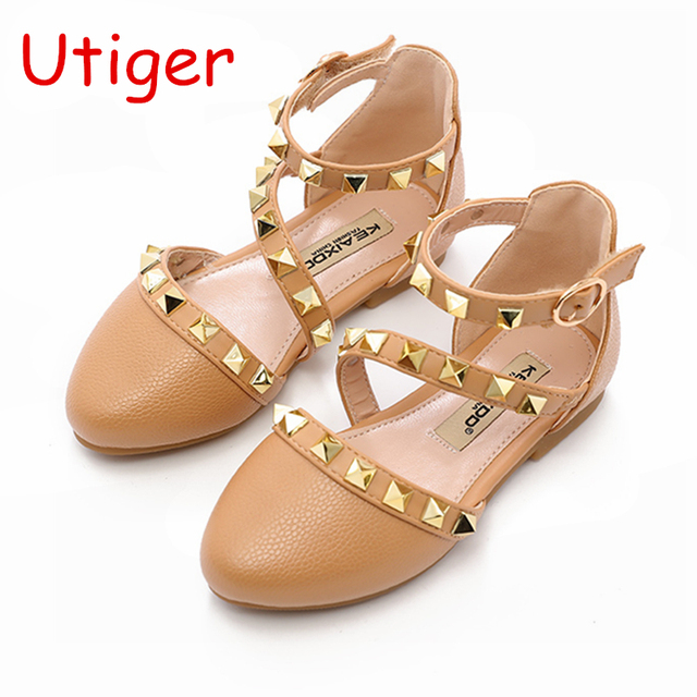 64cf3a9a58fb7 Children Girl Rivet Sandals Shoes Baby Girls wedding Princess Shoes Kids  Stud Dance Party Shoe Spring Child Sneaker Flats