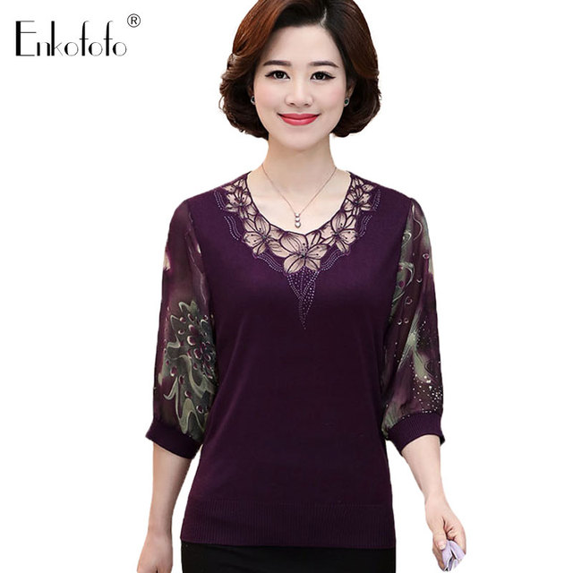 279f7e39ed1cd Women Blouse Plus Size Female Spring Summer Shirts Blouses Middle-aged  Mother Lace Print Floral Three Quarter Sleeve Shirt Top